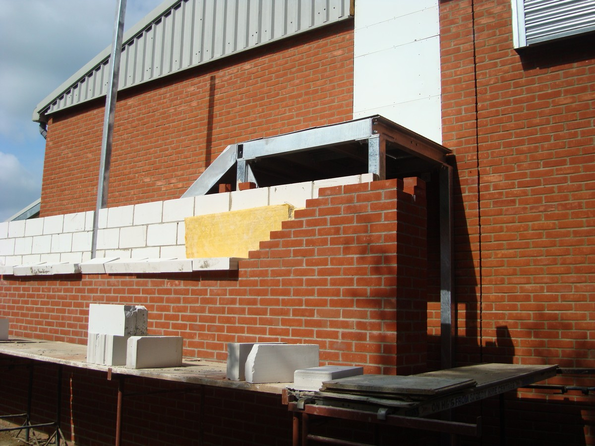 The canopy work is completed and the brickwork is started on the external staircase which now needs to be enclosed. & The Poppy Centre » Canopy completed external staircase brickwork starts